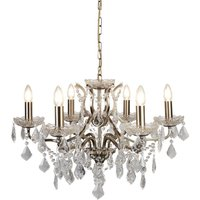 Searchlight 8736-6AB Paris Six Light Ceiling Chandelier In Antique Brass With Crystal Glass