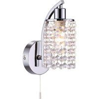 Modern 1 Light Crystal Wall Light in Chrome with Pull Switch