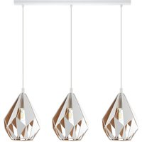 Eglo 43002 Carlton 1 3 Light Linear Ceiling Pendant In White And Rose Gold