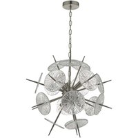Dar NAB0646 Nabila 6 Light Ceiling Pendant In Satin Nickel And Glass