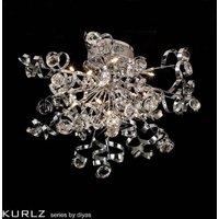 IL30182 Kurlz 15 Light Chrome And Crystal Semi Flush Ceiling Lamp