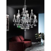 F2155 12 Chrome and Crystal Ceiling Pendant