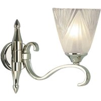 Interiors 1900 63456 Columbia 1 Light Wall Light In Nickel With Deco Style Glass Shades