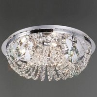 IL30043 5 Lt Chrome and Crystal Halogen Flush Ceiling Lamp