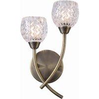 Berkley 2 Light Antique Brass Wall Light with glass Shades