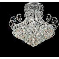IL30027 Pearl Crystal 12Lt Semi Flush Ceiling Lamp In Chrome