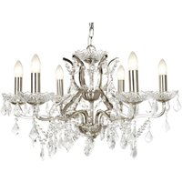 Searchlight 8736-6SS Paris Six Light Ceiling Chandelier In Satin Silver With Crystal Glass