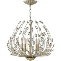 HK/TULAH5 Tulah 5 Light Ceiling Chandelier In Silver Leaf