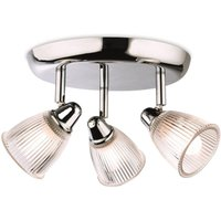 Firstlight 3748CH 3 Way Bathroom Ceiling Spot Light In Chrome With Clear Glass Shades