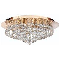 Searchlight 3408 8GO Hanna 8 Light Flush Ceiling Crystal Light