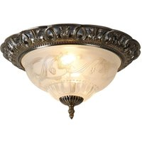 Searchlight 7045 13 Flush Ceiling Light In Antique Brass With Glass Diffuser