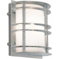 Norlys ST FLU E27 GAL O Stockholm 1 Light Flush Wall Light   Galvanised   With Frosted Glass