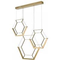 Dar HEX0335 Hexagon 3 Hexagon Bar Ceiling Pendant In Gold