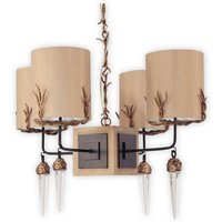 FB DIEGO4 4 Light Taupe Gold and Crystal Ceiling Pendant
