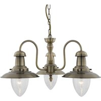 Searchlight 5333 3AB Fisherman 3 Light Ceiling Pendant Light In Antique Brass