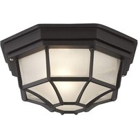 Traditional Style Black Outdoor IP54 Flush Porch Ceiling Lantern Light
