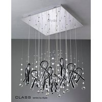 IL50407 Class Black Glass And Crystal 20 Light Pendant