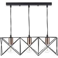 Dar MID0322 Midi 3 Light Bar Ceiling Pendant in a Black and Copper Finish