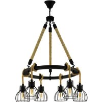 Eglo 43194 Rampside 6 Light Ceiling Light In Black And Brown With Wood And Metal Shades
