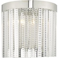 Dar LOR0908 Lorant 2 Light Wall Light In Polished Chrome And Glass