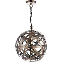 Dar VOY0164 Voyage Antique Copper Band Globe Ceiling Pendant Light