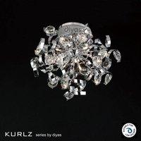 IL30180 Kurlz 9 Light Chrome And Crystal Semi Flush Ceiling Lamp