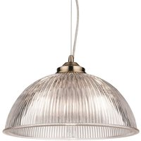 Firstlight 3723AB Ashford 1 Light Ceiling Light In Antique Brass With Ribbed Clear Glass Shade