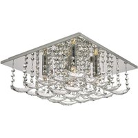Dar ORE5450 Orella 5 Light Flush Ceiling Light In Polished Chrome With Crystals
