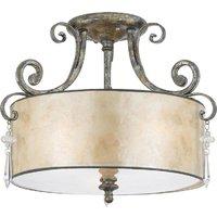 QZ KENDRA SF 3 Light Mottled Silver Semi Flush Ceiling Light