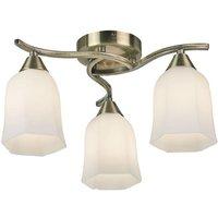 Endon 96973 AB Alonso 3 Lt Antique Brass Semi Flush Ceiling Light