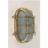 Large Oval 445A LA Ships Bulkhead Traditional 1 Light Brass Flush Exterior Lamp