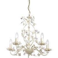 Endon LULLABY 5CR Lullaby Cream Gold 5 Light Flush Ceiling Light