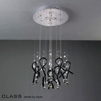 IL50401 Class Black Glass And Crystal 10 Light Pendant