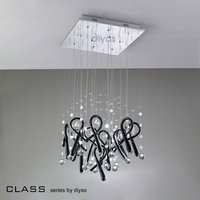 IL50403 Class Black Glass And Crystal 10 Light Pendant