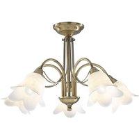 Dar DOU0575 Doublet Antique Brass Semi Flush 5 Light Fitting