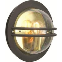 Norlys Bremen Round Steel Wall Light Smoked Lens IP54