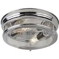 Searchlight 5182CC Edinburgh Flush Ceiling Light In Chrome And Clear Glass