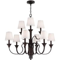 FE/ARBOR CREEK9 Arbor Creek 9 Light Bronze and Brass Chandelier with Shades