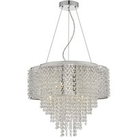 Dar ACE0650 Acelynn 6 Light Ceiling Pendant In Polished Chrome And Crystals