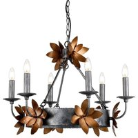 FB SIMONE6 Simone 6 Light Chandelier Light In Distressed Silver And Gold