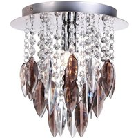 Willazzo Round 1 Light Ceiling Fitting In Chrome And Smoked Droplets
