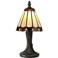 Shadow 1 Light Table Lamp With 300mm Cream  Brown  Clear  Black And Gold Shade