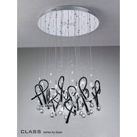 IL50405 Class Black Glass And Crystal 10 Light Pendant