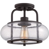 QZ TRILOGY SF S Trilogy 1 Light Old Bronze Semi Flush Light with Glass Shade