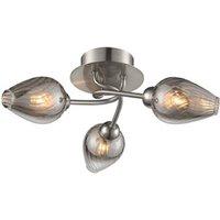 F2405 3 3 Light Semi Flush Ceiling Light In Satin Nickel