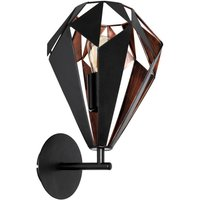 Eglo 49992 Carlton 1 One Light Wall Light In Black And Copper