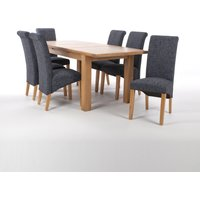Solid Oak Extendable Dining Table with 8 Scroll Back Chairs in Jacquard Floral Brown/Ivory