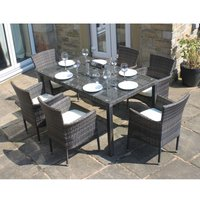 Rattan Outdoor 6 Seater Garden Furniture Dining Set in Mixed Brown