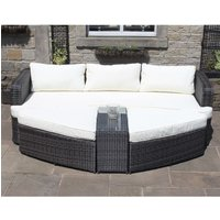 Rattan Lounge Set Sofa with Table and Ottomans Outdoor Garden Furniture