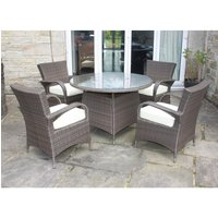 Rattan Aluminium Outdoor Garden Conservatory Furniture 4 Seat Dining Set in Brown
